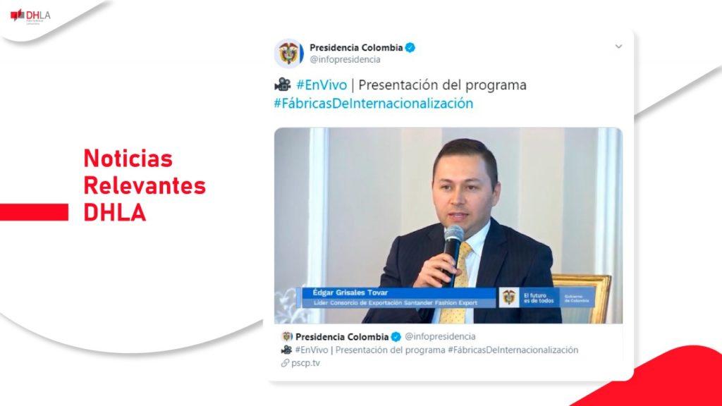 Docente Dual representa a la Universidad Autónoma de Bucaramanga UNAB en la presentación del Programa Fábricas de Internacionalización en compañía del Presidente de la República de Colombia.